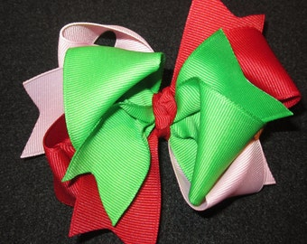 Watermelon Picnic M2M m2mg Hair Bow for Gymboree Girls BIG 5 Inch Full Twirly Triple Layers and Loops Hairbow White Red Lime Green