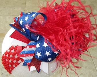 Patriotic Hairbow, Red White & Blue Bow, Over the Top Bows, OTT Hairbow, 4th of July Headband, Ostrich Feather Hair Bow, Pageant Hairbows