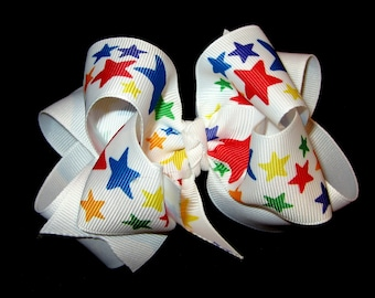 Rainbow Stars Patriotic Fabulous Double Layered Boutique Lush Hair Bow with Spikey Edges for Baby Toddler or Little Girl