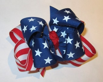 American Flag hairbow, Patriotic Hair Bows, Boutique Bows, American Hairbow, Red White and Blue Bows, 4th of July Hairbow, Blue Stars bow