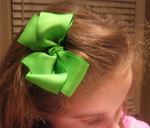 Boutique Hair Bows, Girls hair Bows, Big Bows, Lot of 6 Hairbows, 5 inch Bows, large bows, Wholesale Bows - Set of Bows, Cheer Bows, Dance