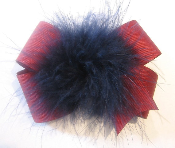 Marabou Puff Hair Bow Loopy Fun Large 5 inch Back to School Hairbow in Maroon and Navy Blue