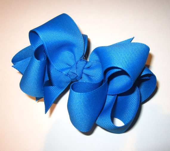 Blue Magic Hair Bow - Double Layered Boutique Bows - Big Bows - Baby Toddler Girl Hairbow - 4 5 inch hairbows - Blue hairbow - Headband