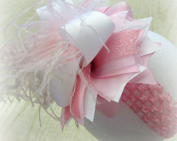 Baby Pink Bow, Over the Top Bow, OTT Hair Bow, Large Hairbow, Cakesmash Bows, Big Hair Bow, Baby Headband, Girls Hairbows, Birthday Bows