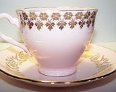 FREE SHIPPINGTeacup and Saucer Colclough China Pink Passion with 22K Gold Embellishments