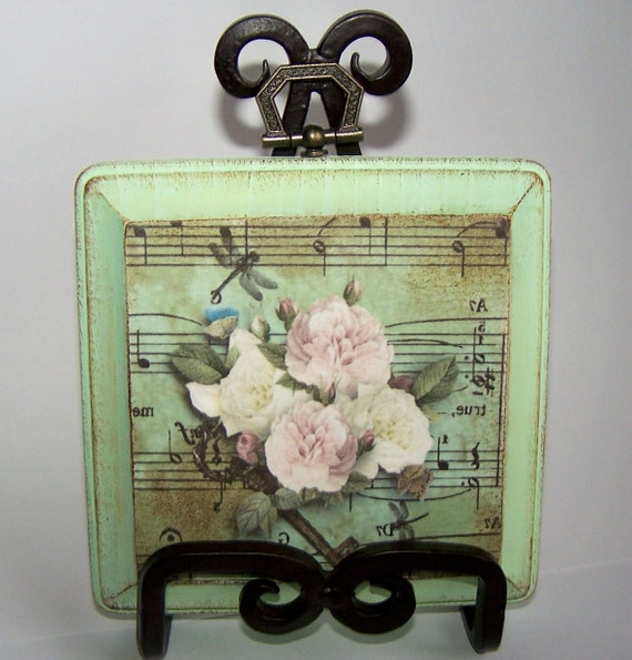 FREE SHIPPING Wall Art Wood Wall Decor Old Music Sheet Key Dragonfly and Roses Mint