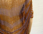 OutsaPop Trashion shredded secondhand cob web Marimekko stripe jersey t-shirt dress - terracotta lavander lilac