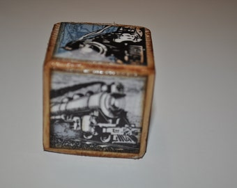 Vintage Inspired Train Blocks - set of 5