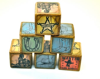 Western Cowboy Wooden Name Blocks - Set of 6 Childrens Baby Blocks - By You're It Kids - Boots Wanted Horseshoe Cowboy Hat Sheriff Badge