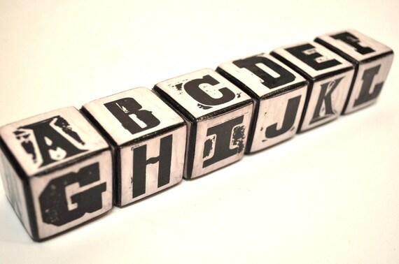 Special listing for Jmellica - Vintage Letterpress Blocks - set of 5