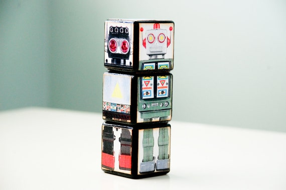 Blocks - Retro Robots - Room Decor - Toys