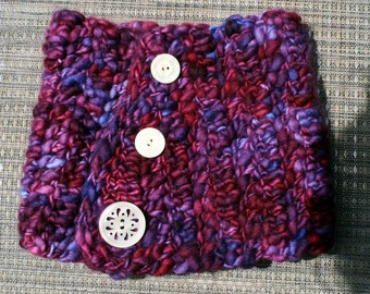 Chunky Crocheted Cowl Neckwarmer with Vintage Buttons