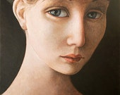 IPALBUS, Young Woman Portrait. Femme, Donna, Art Print of an Original Painting by Pojani