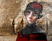 Boy with a castle in the background. Art print from original painting by Ipalbus