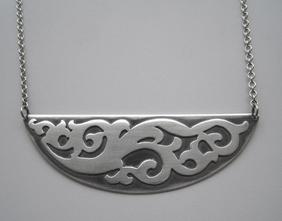 Sterling Silver Hand Carved and Oxidized Victorian Design Necklace