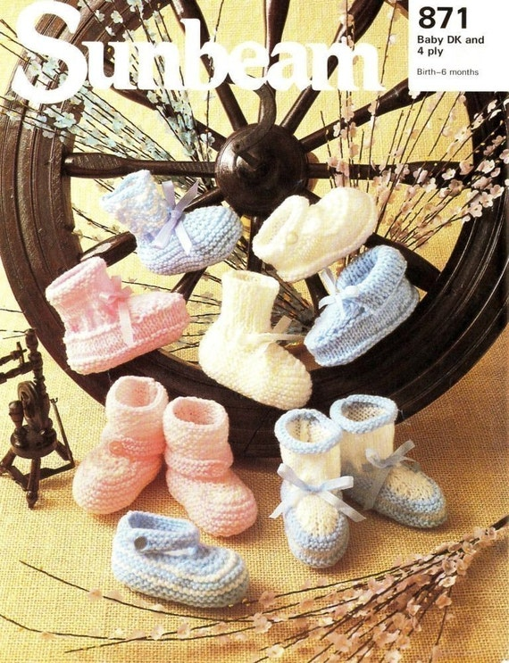Sunbeam Knitting Pattern 871 - Babies' Bootees and Shoes - PDF by email