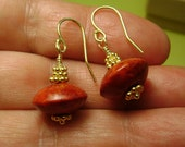 Sponge Coral earrings with Vermeil detail, Red and Gold Dangle Earrings, red/orange fossil coral earrings, free shipping in Canada, art4ear