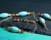 Turquoise Gold filled Chain Necklace, Reconstituted Turquoise and Carnelian wire wrapped Gold filled / 21 inches long / turquoise jewelry