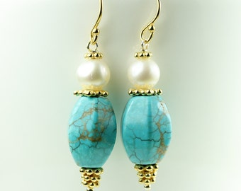 Turquoise Earrings with pearl in Vermeil Turquoise with pearl jewelry, Gift idea for her, handmade by art4ear, under 30 USD, dangle earrings