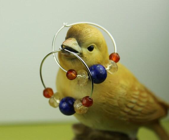Silver Hoop Gemstone Earrings- Complementary colors lapis citrine carnelian