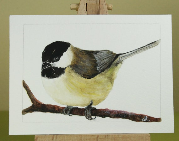 ACEO original watercolor painting / Chickadee / Birds in Our Garden series no. 13 / Waiting for Spring