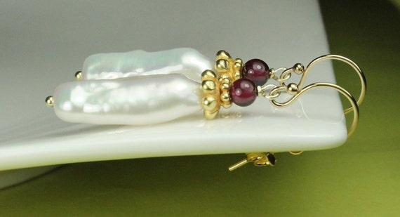 Biwa Pearl Drop Earrings with Garnet / ornate vermeil beadcaps / Gold filled French Hooks