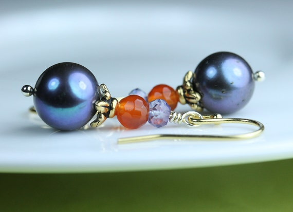 Pearl Earrings / Peacock Color Freshwater pearls / carnelian / blue mystic quartz / french hooks vermeil