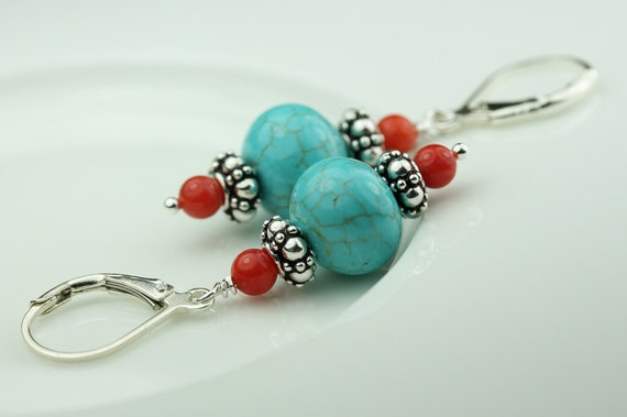 Turquoise Coral Sterling Silver Lever Back Earrings