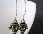 FREE SHIPPING August Song Earrings Peridot Green Sterling French Hoop