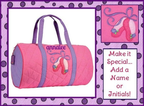 Personalized BALLET SHOES Girl's Quilted DUFFLE Bag by Stephen Joseph