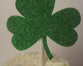 Glitter shamrock cupcake toppers - set of 12