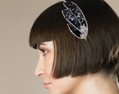 Fascinator -- VIOLET Silver Beads and Black Sequins Headband -- Wedding Bridesmaid Headband