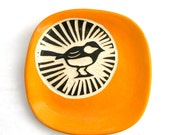 Chickadee Circle Plate - Bright Orange