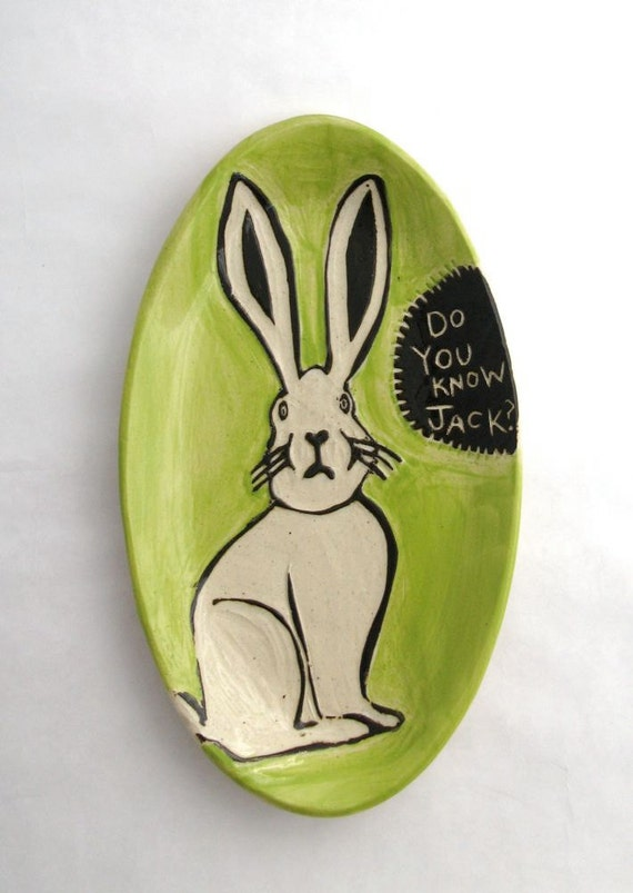 Do You Know Jack Rabbit Plate - Chartreuse