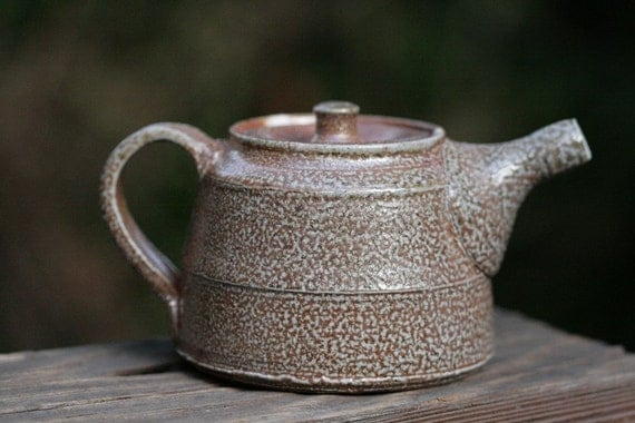 teapot with handle on back, salt fired