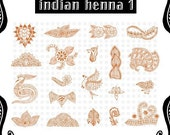 FREE SHIPPING, FAST DELIVERY- Indian Henna Collections on A4 Size Sheet, Choose 1 Set