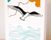 Screen Printed Card with Flying Seagull
