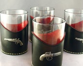 Vintage Leather Wrapped Wild Wild West Revolver Cocktail Glasses
