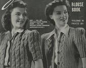 Vintage 1941 Knitting Pattern Blouse Book