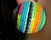 Vintage funky striped colorful round large plastic ear clips