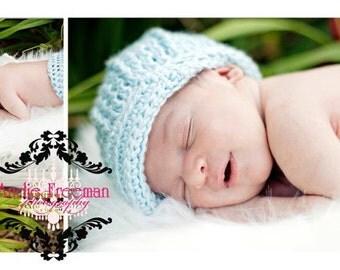 Ribbed Newborn Crocheted Cap or Photo Prop/ diaper option