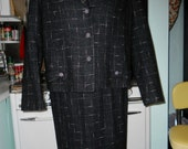 RESERVED Black and Pink Atomic Suit w Blouse 1950s