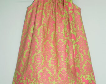 CLEARANCE - Lime Green and Hot Pink Damask Pillowcase Dress Size 2