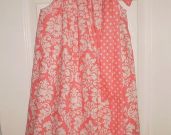 READY TO SHIP - Coral Damask Pillowcase Dress Size 4