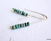 African Turquoise Earrings , Sterling Silver , Long , Hook Earrings , Modern Minimalist