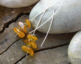 Amber Earrings in  Sterling Silver, Long Hook Earrings
