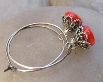 Red Coral Earrings  Medium Hoops Coral Earrings Oxidized Sterling Silver Earrings