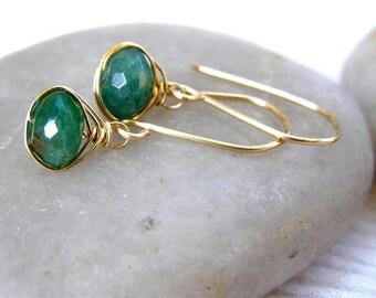 Emerald Green Aventurine Earrings,  14K Gold Fill , Woven Earrings , May Birthday, Aventurine Emerald Jewelry