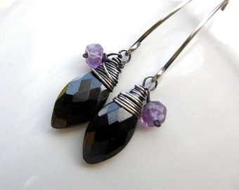 Black Spinel Earrings  Amethyst Earrings , Sterling Silver Earrings ,  Oxidized , February Birthstone Gemstone Earrings