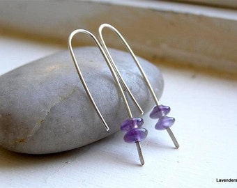 Amethyst Earrings , Sterling Silver , Hook Earrings , Modern Minimalist , February Birthday